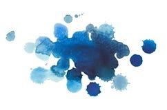 Baisse bleue tirée par la main d'aquarelle abstraite d'aquarelle Image libre de droits