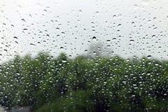 Baisse d'eau douce de nature de fond sur la condensation en verre et de pluie images libres de droits