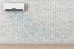 Baisse de flocons de neige de climatiseur moderne rendu 3d Images libres de droits