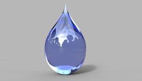 Baisse de l'eau avec l'illustration de la réflexion 3d Images libres de droits