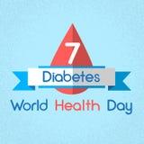 Baisse de sang de jour de santé du monde de diabète de niveau de mètre de glucose illustration de vecteur