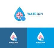 Baisse de vecteur et combinaison de logo de clic Aqua et symbole ou icône de curseur Calibre unique de conception de logotype de  Photos libres de droits