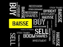 BAISSE - image with words associated with the topic STOCK EXCHANGE, word cloud, cube, letter, image, illustration Royalty Free Stock Photos