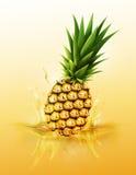 Baisse mûre d'ananas sur l'éclaboussure de jus et l'ondulation, le fruit réaliste et le yaourt, transparents, illustration de vec Photos libres de droits