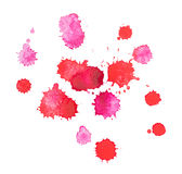Baisse rouge tirée par la main d'aquarelle abstraite d'aquarelle Photographie stock