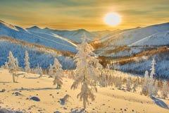 Baisse sur le passage L'hiver soirée kolyma Image libre de droits