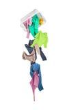 Baisses d'habillement des paniers de blanchisserie image stock