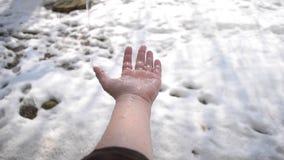 Baisses de la chute de fonte de neige sur la paume banque de vidéos