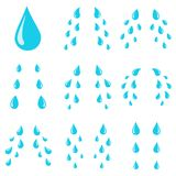 Baisses de larmes Courants pleurants de cri de peine, goutte de larme ou baisse de sueur Courant de vecteur d'isolement par larme illustration de vecteur
