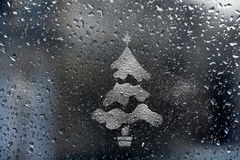 Baisses de pluie sur la texture en verre Image libre de droits