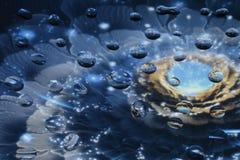 Baisses uniques de l'eau sur le verre Photographie stock