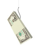 The bait. Fish hook and money. Isolated stock illustration