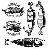 Bait fishes and frog on white in engraving style. Logo for fishing or fishing shop on white.  vector illustration