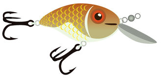 Bait for fishing. Bait for catching fish in the shape of a fish, raster illustration Stock Photo