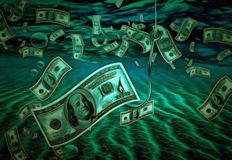 Bait. Surreal painting. Hundred dollars banknote on a hook as a bait Royalty Free Stock Photography