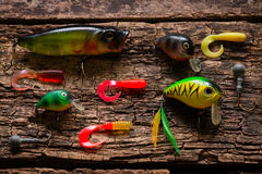 Bait to catch fish on a wooden table Royalty Free Stock Photography