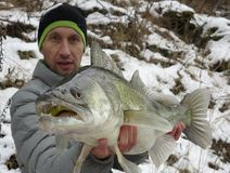 Baitcasting fishing in central Europe royalty free stock photos