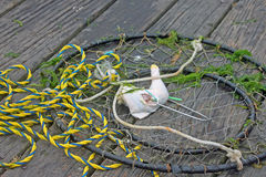 Baited Crab Trap on a Fishing Dock Stock Photo