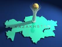 Baiterek Kontrollturm auf einer Karte von Kazakhstan Lizenzfreies Stockbild