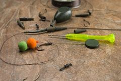 Baits, hooks, sinkers, ledcor is preparing for carp fishing. Copy paste royalty free stock photography