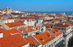 Baixa centrum av den Lissabon panoramautsikten royaltyfri bild
