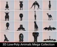 baixa coleção poli preta dos animais 3d Fotografia de Stock Royalty Free