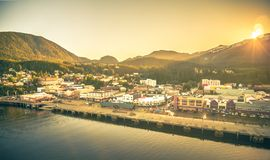 Baixa de Ketchikan Alaska de uma cidade do norte dos EUA imagem de stock