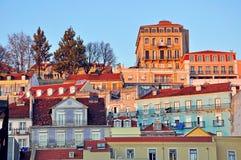 Baixa de Lisbonne sur le coucher du soleil Photographie stock libre de droits