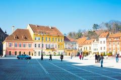 Baixa do quadrado ou da Piata Sfatului do Conselho dentro de Fotografia de Stock