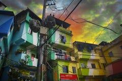 Baixa e favela de Rio de janeiro imagens de stock royalty free