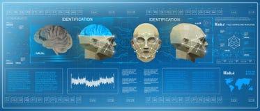 baixa exploração poli do cérebro 3D, interface de utilizador gráfica virtual médica do toque de HUD, cérebro que faz a varredura  Imagem de Stock Royalty Free