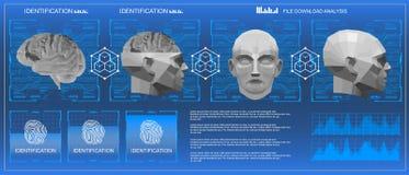 baixa exploração poli do cérebro 3D, interface de utilizador gráfica virtual médica do toque de HUD, cérebro que faz a varredura  Imagens de Stock