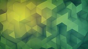 A baixa forma poli verde 3D abstrato aleatoriamente distorsed rende Imagem de Stock
