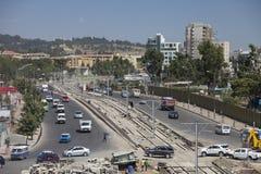 Baixa ideia aérea do tráfego de Addis Ababa Foto de Stock Royalty Free