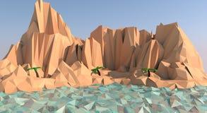 Baixa ilustração poli da praia da ilha Foto de Stock Royalty Free