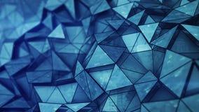 Baixa malha poli lustrosa azul mergulhada com textura 3D do grunge para render ilustração do vetor