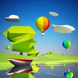 Baixa paisagem poli com um barco e os balões de rio Fotografia de Stock