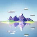 Baixa paisagem poli da montanha com água Fotografia de Stock