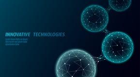 Baixa pilha conectada biológica poli abstrata Tecnologia de comunicação do mundo da conexão poligonal Ciência azul do negócio ilustração do vetor