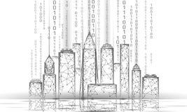 Baixa rede de arame esperta poli da cidade 3D Conceito inteligente do negócio do sistema de automatização de construção Fluxo de  ilustração do vetor