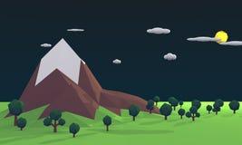 Baixa rendição poli da luz do dia 3D do meio-dia da paisagem ilustração stock