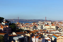 Baixa and Tagus bridge, Lisbon, Portugal Stock Images