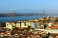 Baixa and Tagus bridge, Lisbon, Portugal Royalty Free Stock Photo