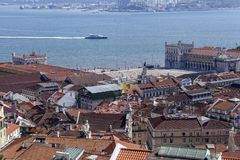 Baixa and Tejo aerial view royalty free stock photography