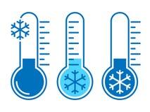 A baixa temperatura ajustou ?cones azuis gr?ficos ilustração stock