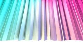 Baixas cortinas 3D polis cor-de-rosa azuis simples abstratas e cristais brancos de voo como o visualização matemático Geométrico  ilustração do vetor
