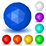 Baixas esferas poligonais coloridos das caras triangulares ilustração stock