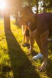 Baixo alvo da raça do começo do esporte do treinamento do começo Foto de Stock Royalty Free
