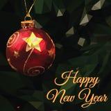 Baixo ano novo feliz poli ilustração do vetor