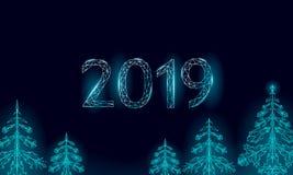 Baixo cartão poli do feriado do abeto do Natal 3D Preto escuro azul do céu noturno do ano novo feliz Números da data 2019 geométr ilustração do vetor